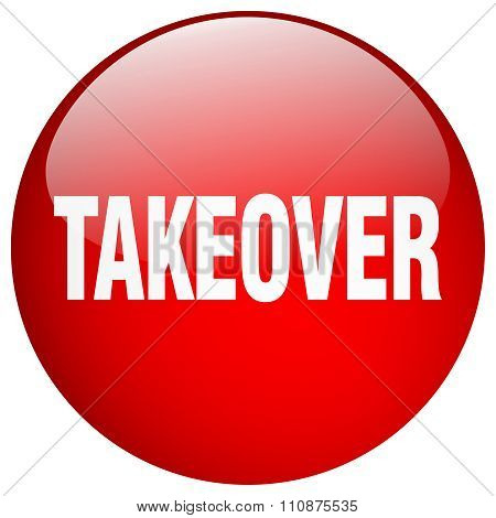 Takeover Red Round Gel Isolated Push Button
