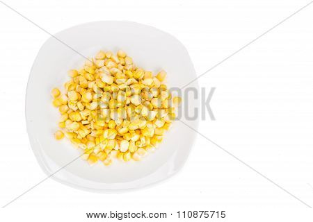 Overhead View Of Fresh Corn Maize Kernels On Plate