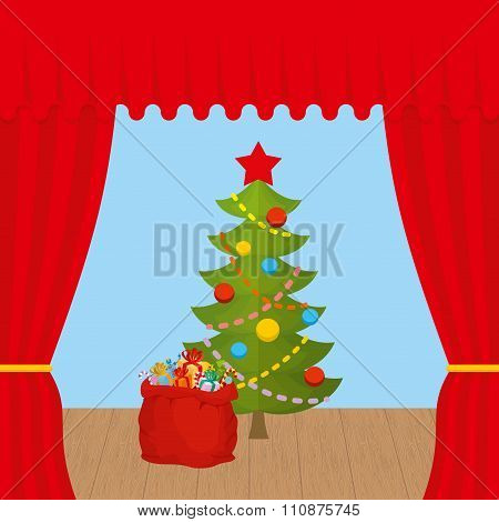 Christmas Scene And Red Curtain. Holiday Scene. Christmas Tree And  Santa Claus Bag With Gifts