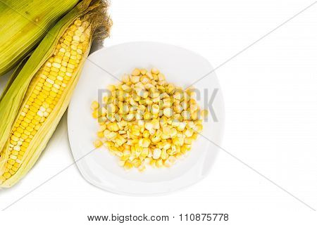 Overhead View Fresh Maize Corn Cob And Kernels On Plate