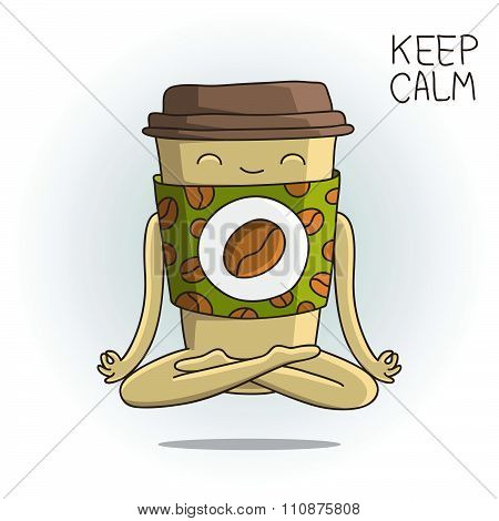 Cute cup of coffee sitting in the lotus position