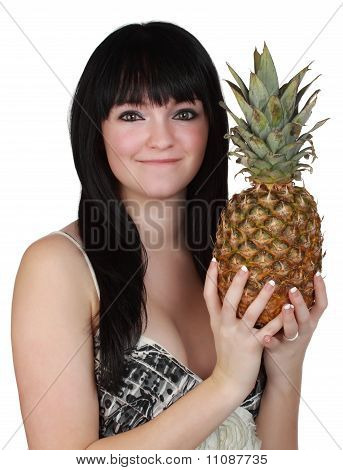 Menina Holdign A abacaxi