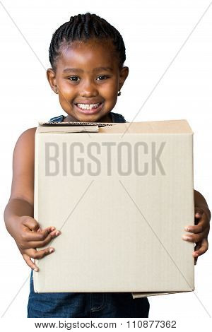 Cute African Girl Holding Big Cardboard Box.