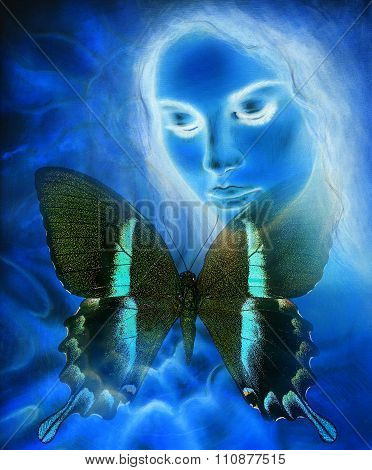Beautiful Goddness women and color butterfly, mixed media,abstract color background, blue, black and