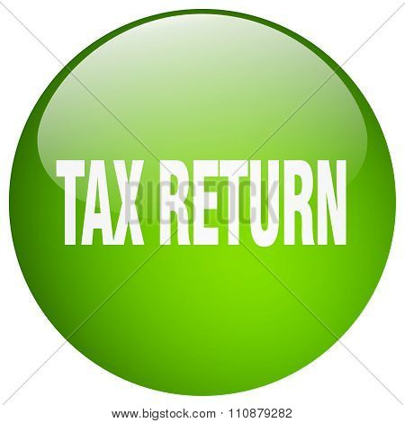Tax Return Green Round Gel Isolated Push Button