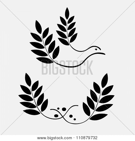 Laurel wreath tattoo icon. Stylized ornament of branch, dove bird. Black signs. Defense, love, glory