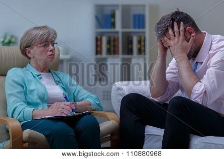Man With Phobia During Therapy