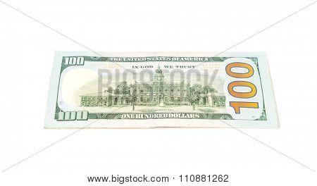 One hundred dollars banknotes on white background