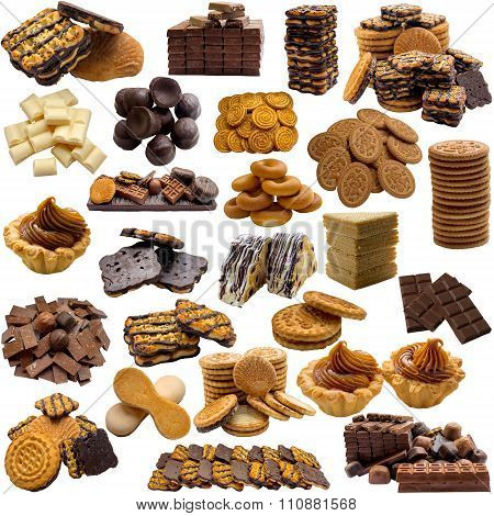 Variety Of Cookies And Chocolate On A White Background.