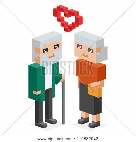 Isometric old family couple in love celebtrate wedding date