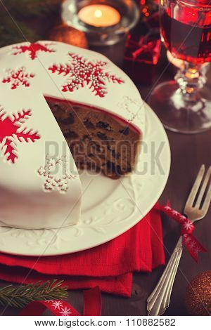 Traditional Fruitcake On  Christmas Table