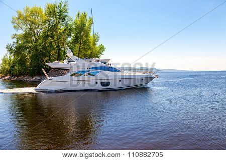 Large Luxury Motor Boat On The Volga River In Sunny Day