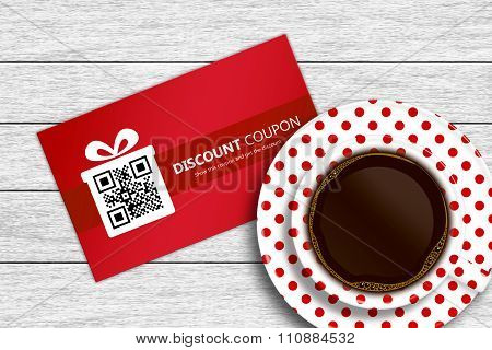 Discount Coupon With Cup Of Coffee