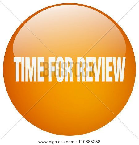Time For Review Orange Round Gel Isolated Push Button