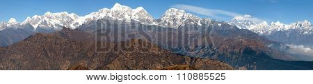 Panoramic View Of Himalayas Range From Pikey Peak