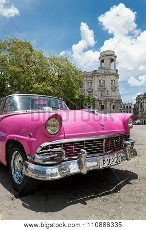 Pink car in Cuba