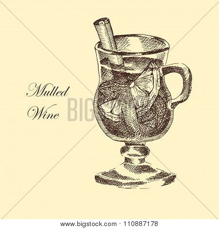 vector hand drawn ink sketch of mulled wine, cinnamon, anise. detailed food drawing for autumn illus