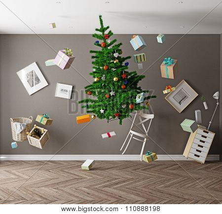 room with a Christmas tree and zero gravity. 3d concept