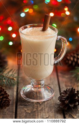 Eggnog traditional christmas holiday egg, vanilla non alcohol liqueur preparation recipe in two glas