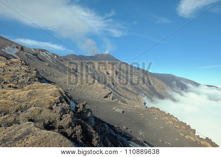 rock and volcanic ash of slope Montagnola Mount and active Sud-Est Crater of Etna Volcano, Sicily