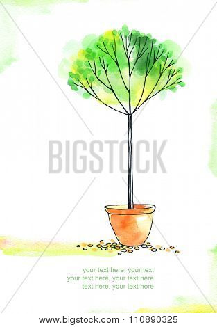 card with painted watercolor tree in pot