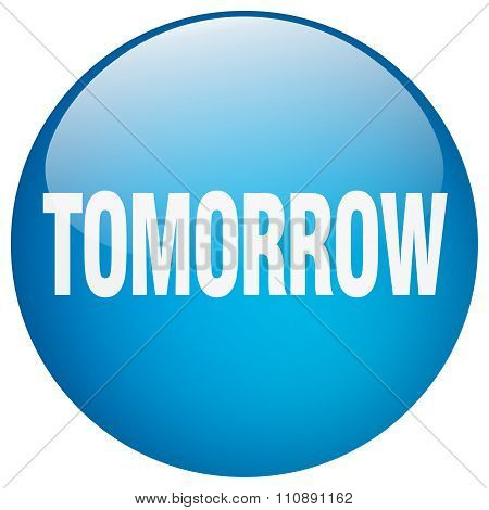 Tomorrow Blue Round Gel Isolated Push Button