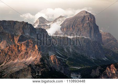 Evening View Of Gruppo Di Tofana Or Tofane Grupe