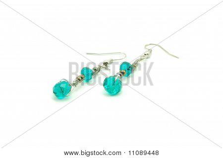 emerald / jade swarovski earrings