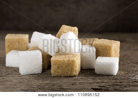 Cubes Of Sugar Cane Brown And White