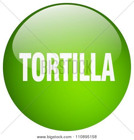 Tortilla Green Round Gel Isolated Push Button