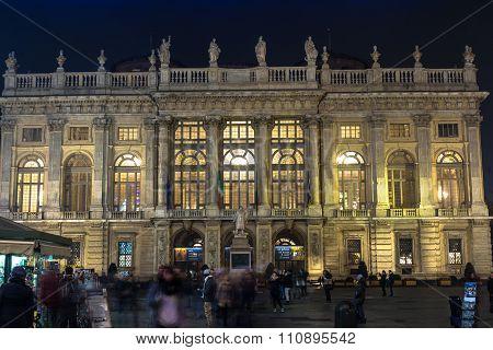 Night view of Palazzo Madama in Turin, Italy