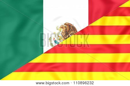Flag Of Mexico And Catalonia