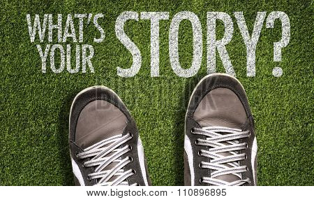 Top View of Sneakers on the grass with the text: What's Your Story?