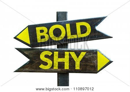 Bold - Shy signpost isolated on white background