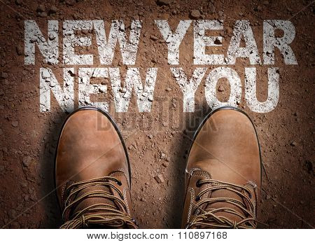 Top View of Boot on the trail with the text: New Year New You