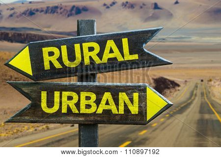 Rural - Urban signpost in a desert background