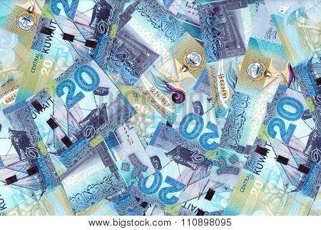 Kuwait Twenty Dinars Banknotes Mix Background