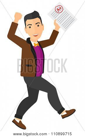 A happy pupil holding a sheet with the highest mark vector flat design illustration isolated on white background. Vertical layout.