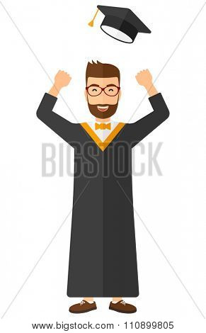 Happy graduate throwing up his hat vector flat design illustration isolated on white background. Vertical layout.