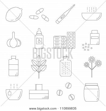Set of linear icons for flu and cold treatment.