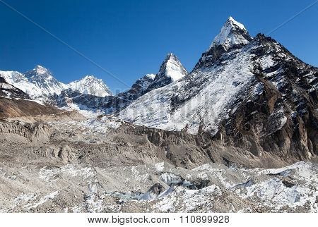 Ngozumba Glacier And Mount Everest