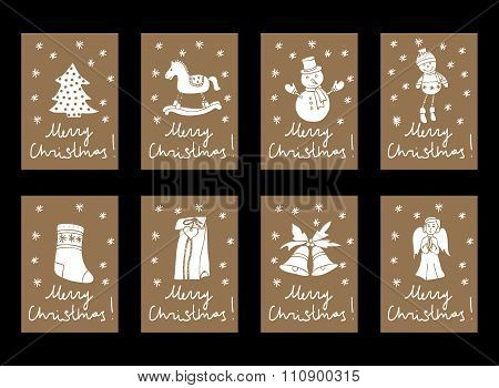 Vector Vintage Christmas And New Year Cardboard Tag Labels