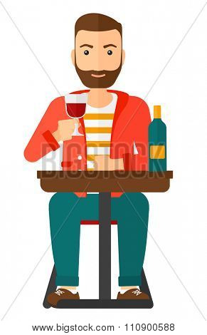 A hipster man with the beard sitting at bar and drinking wine vector flat design illustration isolated on white background. Vertical layout.