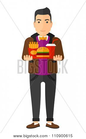 A man holding a tray full of junk food vector flat design illustration isolated on white background. Vertical layout.