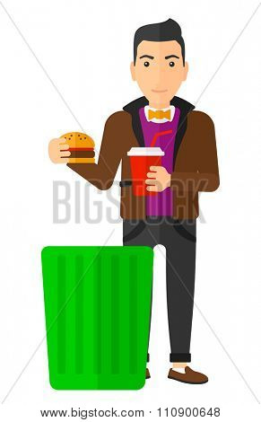 A man putting junk food into a trash bin vector flat design illustration isolated on white background. Vertical layout.