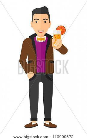 A cheerful man holding a glass of juice vector flat design illustration isolated on white background. Vertical layout.