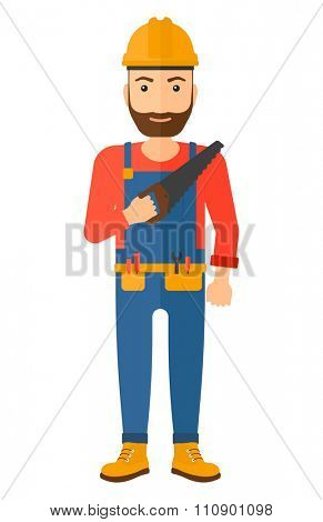 A happy hipster worker with the beard holding a saw in hand vector flat design illustration isolated on white background. Vertical layout.