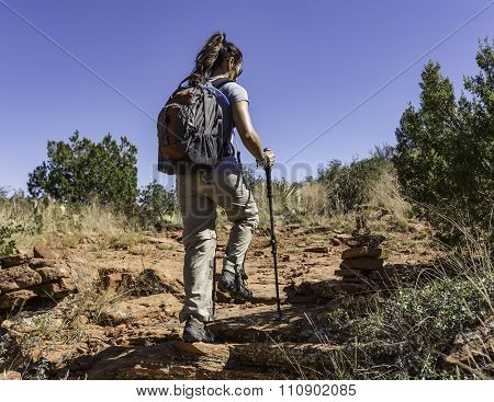 Woman Hiking in Desert