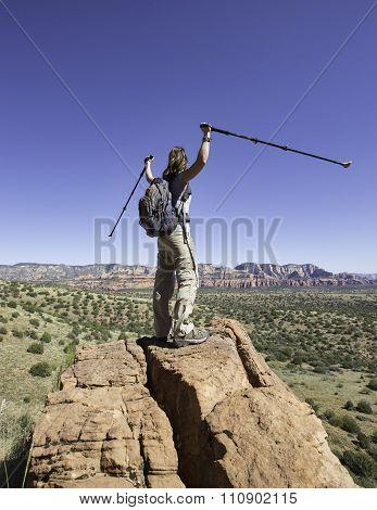 Woman Celebrates Reaching The Pinnacle