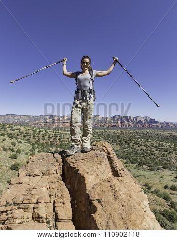 Woman Celebrating While Hiking